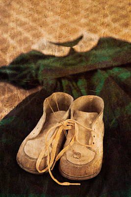 Vintage Dress And Baby Shoes Poster by Erin Cadigan