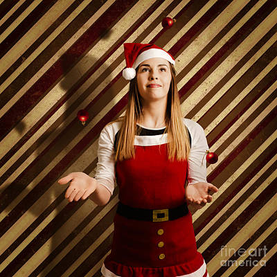Vintage Female Elf Juggling Christmas Decorations Poster by Jorgo Photography - Wall Art Gallery