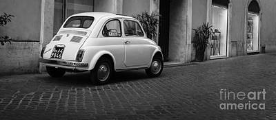 Vintage Fiat 500 Rome Italy Black And White Poster by Edward Fielding