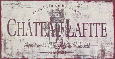 Vintage French Wine Sign Poster by Mindy Sommers