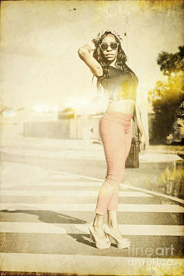 Vintage Girl Modelling In Seventies Fashion Photo  Poster by Jorgo Photography - Wall Art Gallery