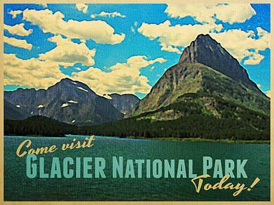 Vintage Glacier National Park Poster by Flo Karp