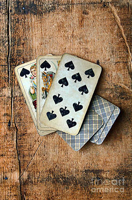 Vintage Hand Of Cards Poster by Jill Battaglia