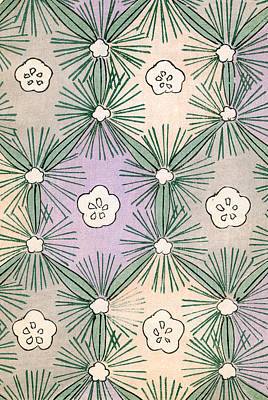 Vintage Japanese Illustration Of Pine Needles And Blossoms Poster by Japanese School