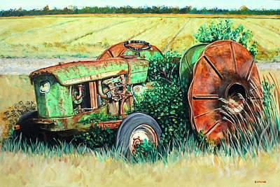 Vintage John Deere Tractor Some Rust Poster by Karl Wagner