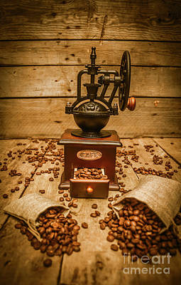 Vintage Manual Grinder And Coffee Beans Poster by Jorgo Photography - Wall Art Gallery