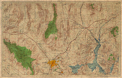 Vintage Map Of Las Vegas Nevada 1969 Aerial View Topography On Distressed Worn Canvas Poster by Design Turnpike