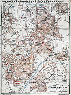Vintage Map Of The Berlin Germany Suburbs  Poster by CartographyAssociates