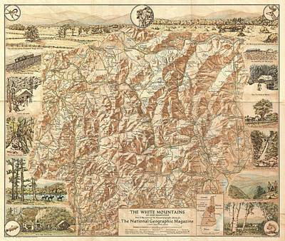Vintage Map Of The White Mountains  Poster by CartographyAssociates