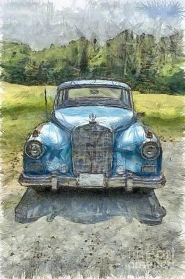Vintage Mercedes-benz Pencil Poster by Edward Fielding
