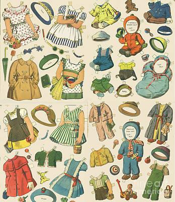 Vintage Paper Dolls  Poster by Edward Fielding