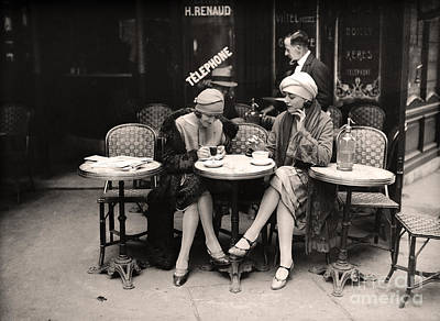 Vintage Paris Cafe Poster by Mindy Sommers