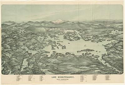 Vintage Pictorial Map Of Lake Winnipesaukee - 1903 Poster by CartographyAssociates