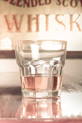 Vintage Pub Whisky On Old Wooden Counter Poster by Jorgo Photography - Wall Art Gallery