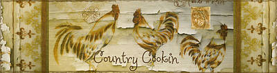 Vintage Rooster Country Cookin' Poster by Mindy Sommers