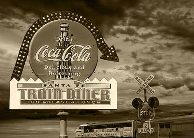Vintage Sign In Sepia For A Classic Train Diner Poster by Randall Nyhof