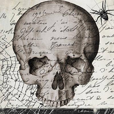 Vintage Skull Halloween Paris Poster by Mindy Sommers