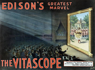 Vintage Thomas Edison Print - The Vitascope Poster by War Is Hell Store