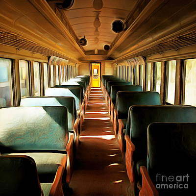 Vintage Train Passenger Car 5d28306brun Square Poster by Home Decor
