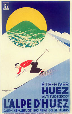 Vintage Travel Skiing Poster by Mindy Sommers