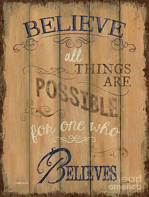 Vintage Wtlb Believe Poster by Debbie DeWitt