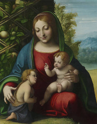 Virgin And Child With The Young Saint John The Baptist Poster by Correggio