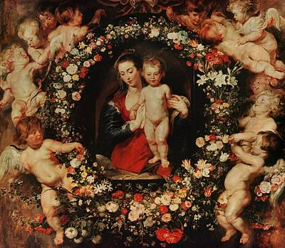 Virgin With A Garland Of Flowers Poster by Peter Paul Rubens
