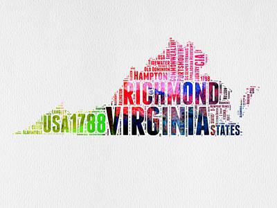 Virginia Watercolor Word Map Poster by Naxart Studio