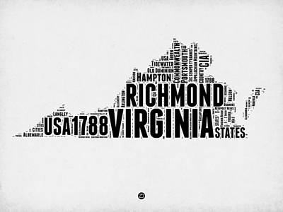 Virginia Word Cloud Map 2 Poster by Naxart Studio