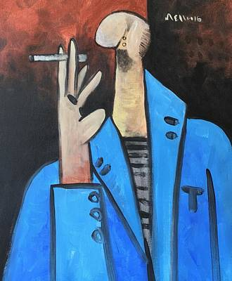 Vitae The Smoker In A Blue Blazer  Poster by Mark M Mellon