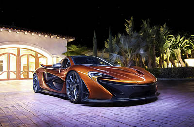 Volcano Orange Mclaren P1 Poster by Peter Chilelli