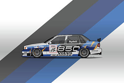 Volvo 850 Saloon Twr Btcc Racing Super Touring Car Poster by Monkey Crisis On Mars