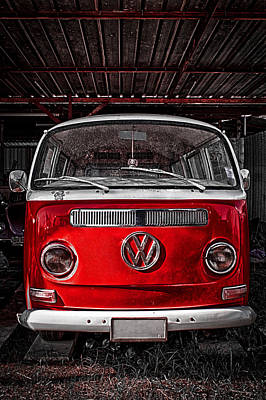 Vw Red - Volkswagen Van Poster by Benjamin Dupont