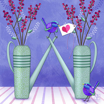 W Is For Watering Cans And Wonderful Wrens Poster by Valerie Drake Lesiak