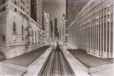 Wabash And Adams -l- Cta Station And Trump International Tower Hotel At Dawn- Chicago Ilinois Poster by Silvio Ligutti