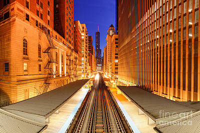 Wabash And Adams -l- Cta Station And Trump International Tower Hotel At Dawn- Chicago Illinois Poster by Silvio Ligutti