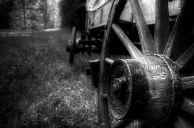 Wagon Wheels In Black And White Poster by Greg Mimbs