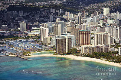 Waikiki From Above Poster by Ron Dahlquist - Printscapes