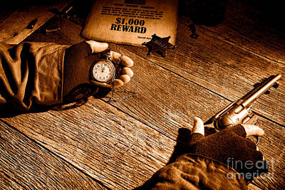 Waiting For High Noon - Sepia Poster by Olivier Le Queinec