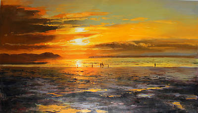 Walkers On Enniscrone Beach At Sunset County Sligo Poster by Conor McGuire