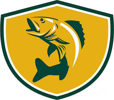 Walleye Fish Jumping Crest Retro Poster by Aloysius Patrimonio