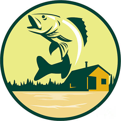 Walleye Fish Lake Lodge Cabin Circle Retro Poster by Aloysius Patrimonio