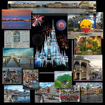 Walt Disney World Collage Poster by Thomas Woolworth