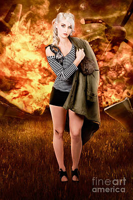 War Pilot Pin-up Woman Walking From Plane Crash Poster by Jorgo Photography - Wall Art Gallery