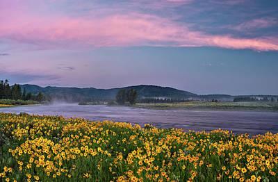 Warm River Spring Sunrise Poster by Leland D Howard