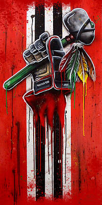 Warrior Glove On Red Poster by Michael T Figueroa