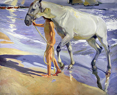 Washing The Horse Poster by Joaquin Sorolla y Bastida