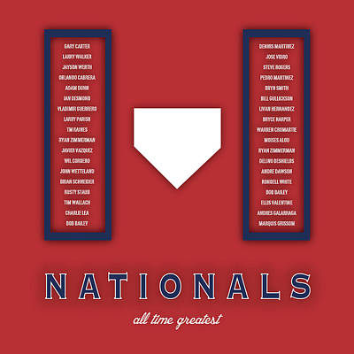 Washington Nationals Greatest Poster by Damon Gray