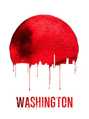 Washington Skyline Red Poster by Naxart Studio