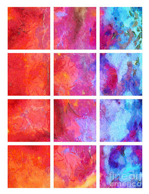 Water Fire Abstract Grid 5 Poster by Edward Fielding